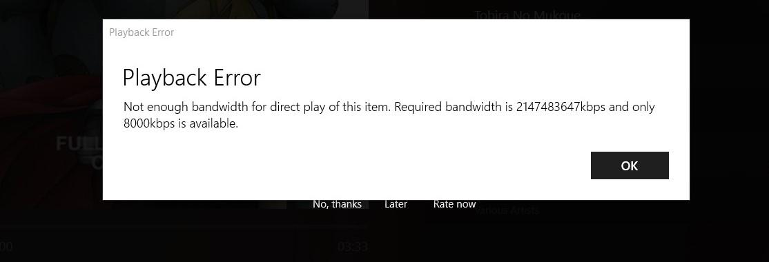 Plex bandwidth not enough error