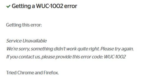 Spectrum WUC-1002 error message