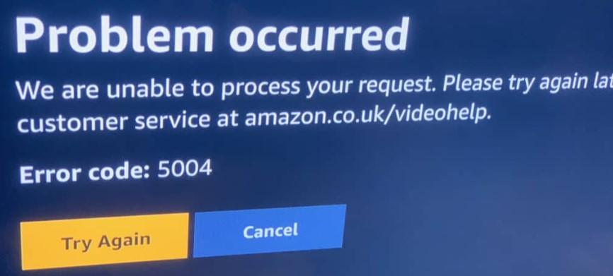 Amazon prime 5004 error