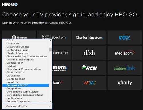 HBO GO tv service providers