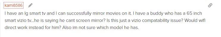 vizio screen mirror problem