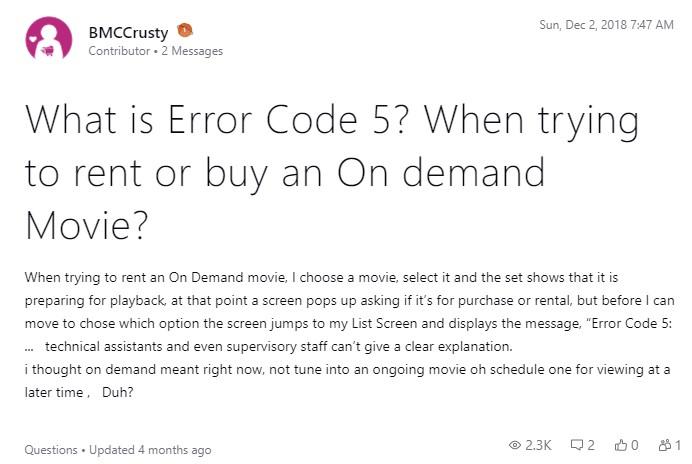 DirecTV error code 5