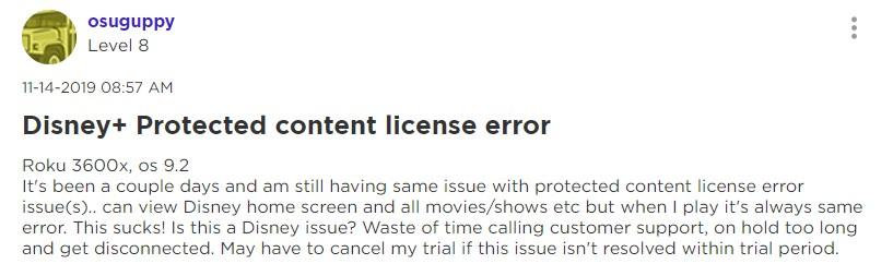 Disney Plus protected content errorDisney Plus protected content error