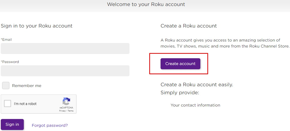 Sign up for roku