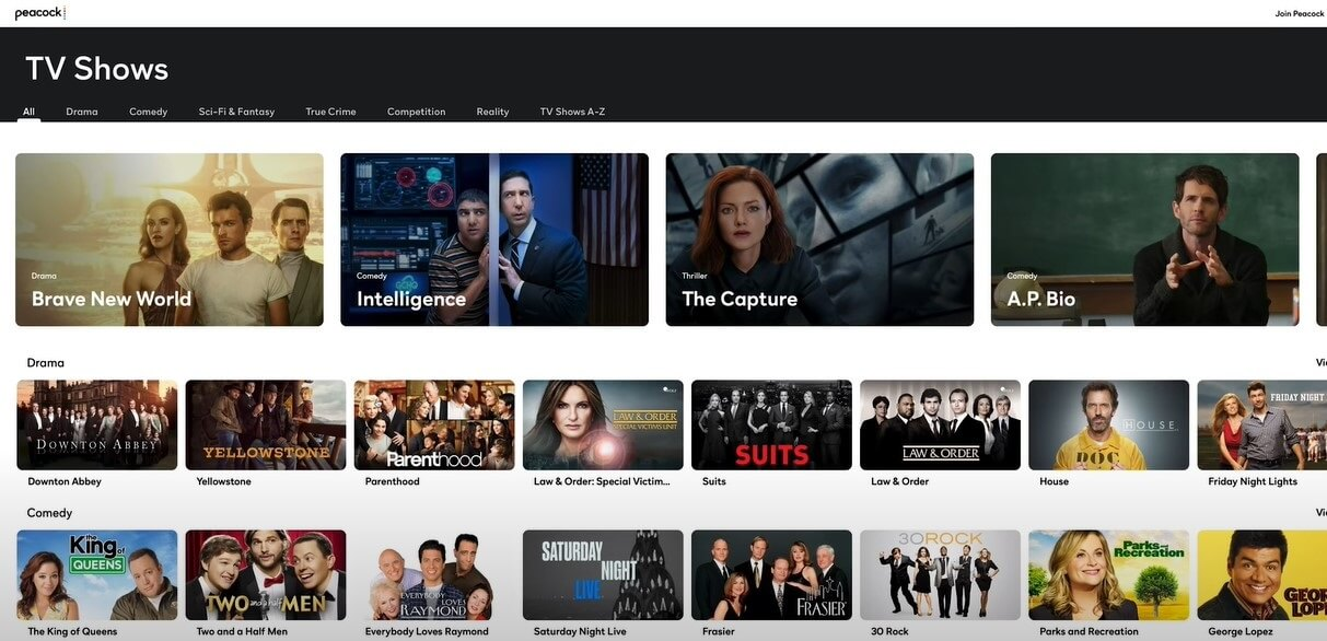 List of shows on Peacock TV
