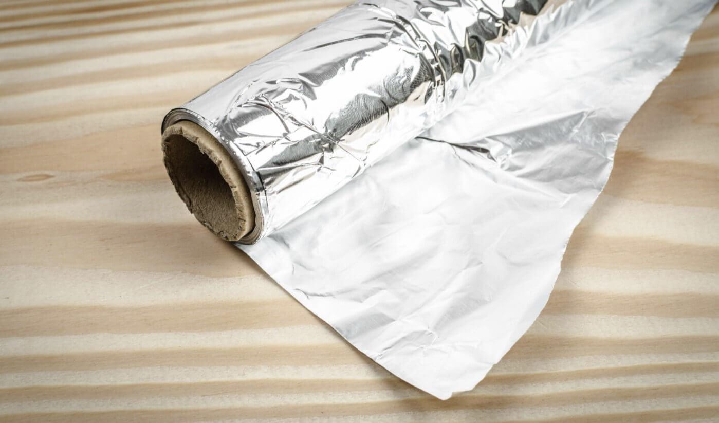 A roll of aluminum foil
