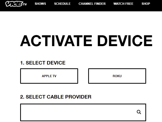 Vice TV activation page