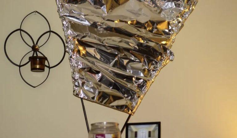 aluminum foil on an antenna